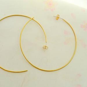 Brass and Sterling Silver Hoop Earr..