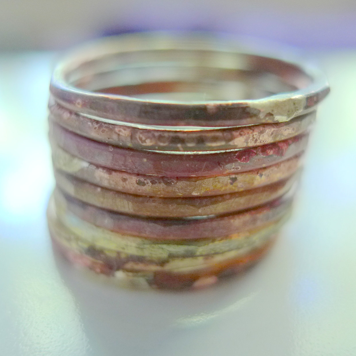 Beautiful Fire Scale Copper and Brass Stacking Rings Made To Order in Your Size