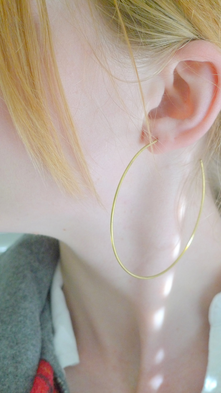 Brass and Sterling Silver Hoop Earrings Extra Large Open Hoops Minimal Simple Jewelry