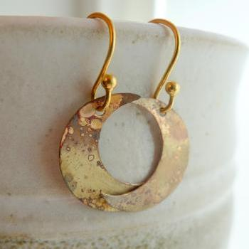 Brass Crater Moon Earrings with Gold Filled Earwires