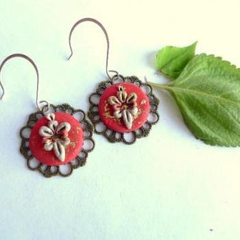 Polymer Clay Embroidery Applique Style Earrings with Brass Filigree Pieces and Swarovski Crystals