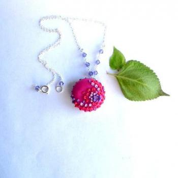 Vibrant Polymer Clay Pendant with Czech Glass and Sterling Silver-Applique Embroidery Style Fabrication