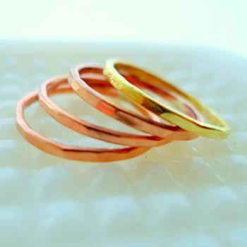 Three Copper and One Brass stacking rings Modest Simple Earthy Beautiful Rings- Woodland Belle